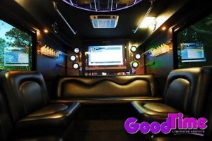 45 Passenger Limousine Party Bus Interior With Bars TVs Ipod Connection and More 300x200 45 Passenger Limousine Party Bus Interior With Bars TVs Ipod Connection and More