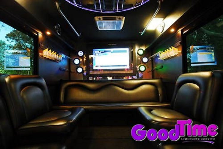 45 Passenger Limousine Party Bus Interior With Bars TVs Ipod Connection and More TORONTO LIMO RENTAL FLEET