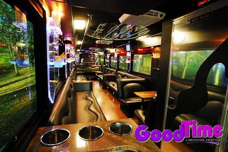 45 Passenger Limousine Party Bus With Bars TVs Ipod Connection and Rest Room LIMO RENTAL FLEET