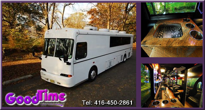 45 Passenger Party Bus With Lavatory TORONTO LIMOS